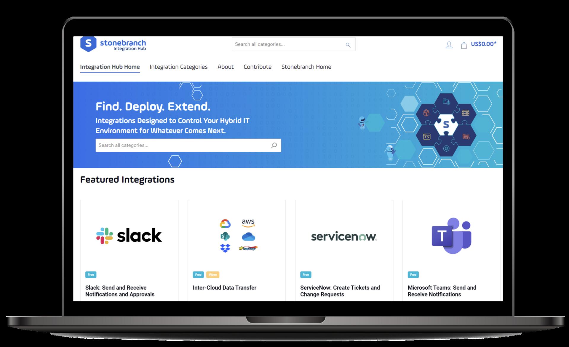 Stonebranch Integration Hub Home Page
