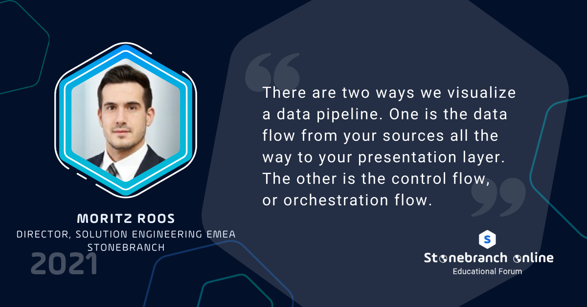 """Stonebranch Online 2021: week 2, Moritz Roos quote: """"There are two ways we visualize a data pipeline. One is the data flow from your sources all the way to your presentation layer. The other is the control flow, or orchestration flow."""""""